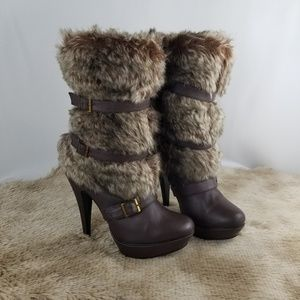 Shoes - Sexy Stunning Faux Fur Platform Calf boots 9 NWOT